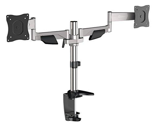 RICOO Monitor Tischhalterung für 2 Monitore Monitorhalterung TS5511 Monitorständer Schwenkbar Neigbar PC Bildschirmständer TFT LCD 38cm/13-76cm/29 Zoll / 75x75x 100x100 / Silber - 2-widescreen-lcd-monitor