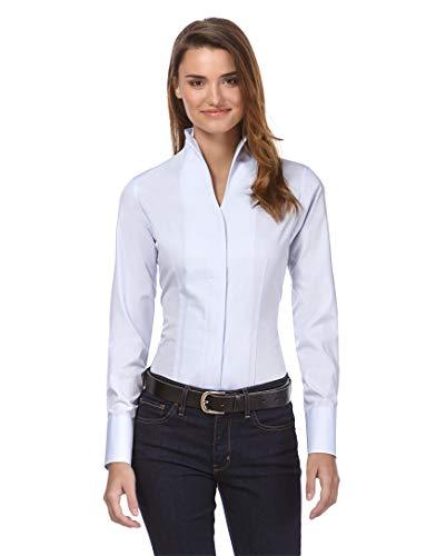 Vincenzo Boretti Damen Bluse mit Kelchkragen leicht tailliert 100% Baumwolle bügelleicht Langarm Hemdbluse mit Stehkragen elegant festlich auch für Business eisblau 34