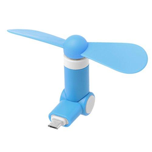 Yiwann Tragbarer Ventilator, 180 Grad drehbar, Micro USB Kühler Ventilator für Samsung Xiaomi Huawei HTC ZTE Android Geschenk blau