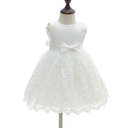 AHAHA Baby Mädchen Prinzessin Kleid Blumenmädchenkleid Taufkleid Festlich Kleid Hochzeit Partykleid Festzug Babybekleidung 12M/12-16monat Weiß