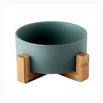 Pet Bowls Céramique Gamelle pour Chat et Chien - Bois Bol pour Chat Animal De l'eau Feeder Gamelle Antidérapante Anti-débordement 850ml Gamelle