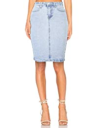 H HIAMIGOS Jupe en Jeans Femme Taille Haute Mi-Longue Jupe Crayon Jupe  Moulante Délavé 2319e9fd08c