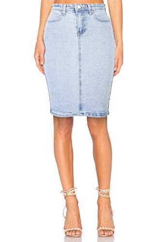 Damen Rock Jeans A Linie Knielang High Waist Used Look, hellblau, M