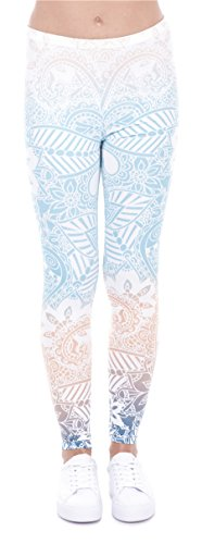 DD.UP Damen Strumpfhose Print Yoga Leggings Workout Fitness Running Pants Mehrfarbig