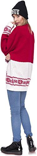 Weihnachtspulli Christmas Sweater Damen Sweatshirt Pullover Merry Christmas Rentier Weihnachten Pulli Elf Rot