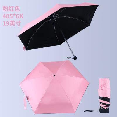 SQYSHOP Neuer tragbarer Regenschirm der Männer Mini-Taschen-Regenschirme verhindern regenfestes Falten der Damen kleine fünf Falten-Sonnenschirm-freier Verkauf-Pink-p03l