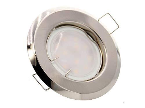 Einbaustrahler, SET: LED und Halogen Einbauspot Spot Rund Metall Satin + GU10 4 WATT LED LAMPE WARMWEISS + GU10 Fassung