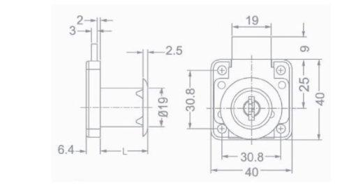 1 Schrankschloss Möbelschloss Einlassschloss Metall verzinkt mit Befestigungsmaterial 75 x 45 x 35mm