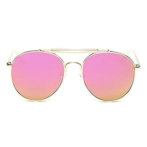 LUFA Retro Women's Sunglasses Mirrored Lenses Metal Frame Glasses Gold+Rose Red