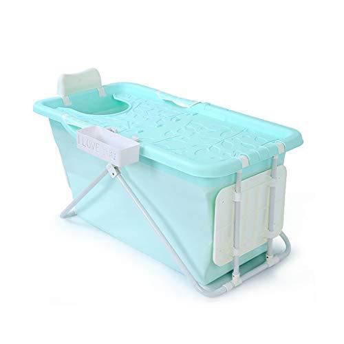 GY Falten Erwachsene Badewanne, Tragbar Kunststoff Badeeimer, Warm Halten Groß Kann Sitzen, Rutschfest Zuhause Neugeborene Baby Schwimmen, 3 Farben 124 * 58 * 51 cm (Farbe : Blau)