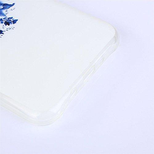 Cuitan Weiche Transparent TPU Schutzhülle Hülle Handyhülle für Apple iPhone SE, Musterentwurf Rückseitige Abdeckung Telefonkasten Back Case Cover Shell für Apple iPhone SE - Böser Hund Blumen