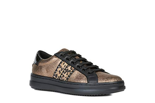 Geox Donna Sneaker PONTOISE, Signora Scarpe Stringate Basse,Lacci,Scarpe da Strada,Sportivo,Elegante,Casuale,Bronze/Tobacco,40 EU / 7 UK
