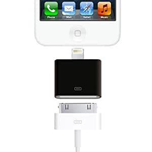 VENKON - 8 Pin to 30 Pin adapter for Apple iPhone 5S, iPhone 5C, iPhone 5 / iPad 4 / iPad mini / iPod Touch 5G / iPod Nano 7G - black - !!! PLEASE NOTE: No music transfer !!!