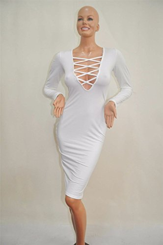 Mode femme paquet bodycon chaud robe bandage mince hanches robes crayon Blanc