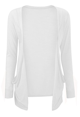 Womens Long Sleeves Drop Pocket Boyfriend Cardigan Ladies Open Casual Tops 14-20 Blanc
