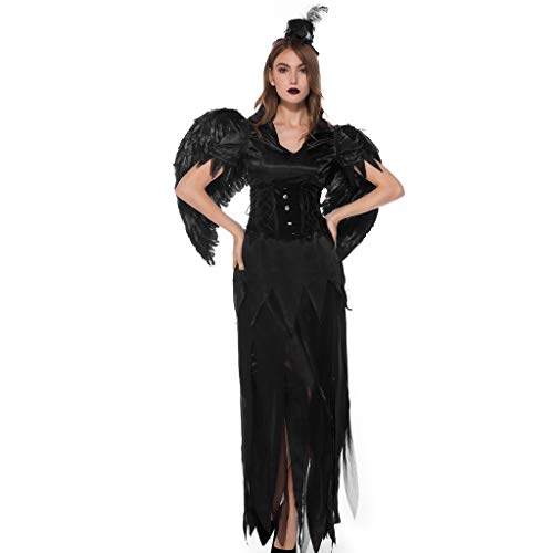 Hexe Sexy Kostüm Glamour - LILIGOD Langes Kleid Frauen 2 Stück Halloween Maxi Kleid Damen Hexe Halloween Cosplay Kleid Party Kostüm Cosplay + Hut Langarm Langes Kleid Einfarbig Bequem A-Linien Party Kleider