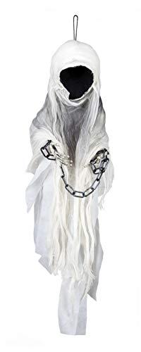 Whity Whiteman - Halloween Dekoration Deko gesichtsloser Geist Gespenst in Ketten, 100cm, Faceless Horror Ghost Zombie, ideal für Jede Halloween Party / Feier, Weiß