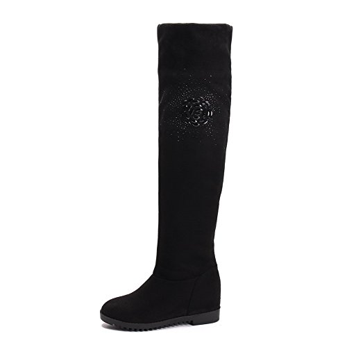 AllhqFashion Damen Blend-Materialien Rund Zehe Hoch-Spitze Stiefel Schwarz-Wasser Diamanten