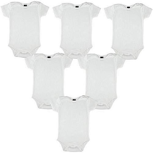 Baby Strampler Set, 6-12 Monate !!6 Stück!!!, Gr. 74/80 Body Organische Baumwolle weiß, kurze Ärmel, 180gr super Qualität Super Angebot unisex 74/80