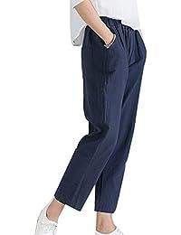 Guiran Mujer Pantalones De Lino Baggy Largo Pantalon Harem Cintura Alta  Suelto Casual 3e55f8e2d383