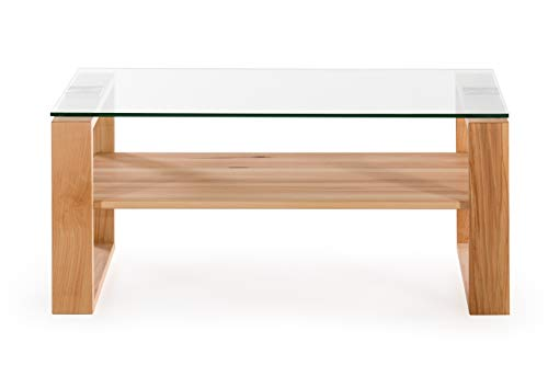 Amazon Brand –Alkove Hayes Solid Wood 1-Shelf Coffee Table with Glass Table Top, 100 x 60 x 48cm, Glass/Core Beech