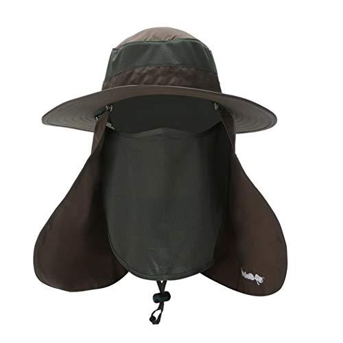 WJQSD Hut der Männer Outdoor Bergsteigen Anti-UV Visier Hut, Fischer Angeln Sonnenhut Sonnenhut, Reisen (Color : Military Color)