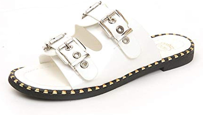 les femmes portent fangyou1314 été boucle carrée feuillet plage plats chaussures de plage feuillet bout ouvert (couleur: blanc, taille: 5, royaume - uni) 69a686