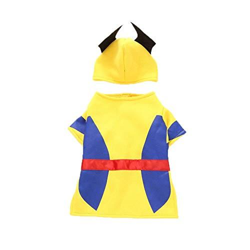 YCGG Halloween Pullover Hund KostüM FüR Katzen Hunde Kleidung FüR Kleine Hunde Mode Polyester Kostüm Unternehmen Wölfe Pet Dress Up Kleidung(M,Gelb)
