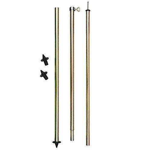 10T TA Pole 200 - Zeltstange 3 Segmente, Aufstellstange mit Klemmschraube, Tarpstange aus Stahl,  Teleskopstange 140-200cm, 2 Standfüße (flach und spitz)