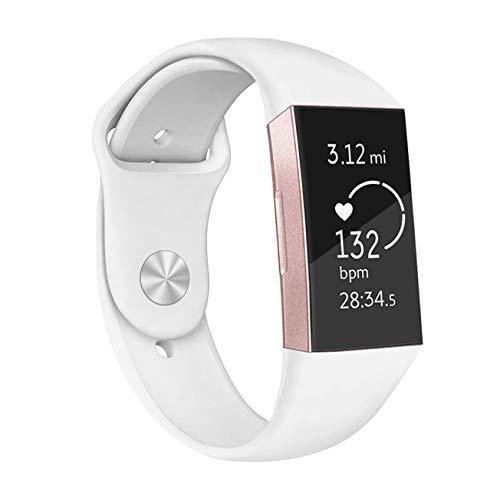 Fundro Für Fitbit Charge 3 Armband, Klassisch Silikon Armbänder Einstellbare Ersatzband für Fitbit Charge 3 Aktivitäts Tracker, Damen & Herren (B# 1-Pack Weiß, Small)
