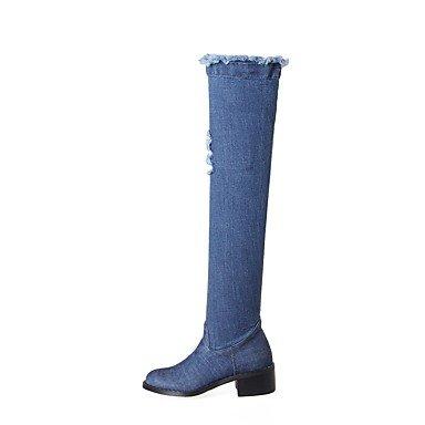 RTRY Scarpe donna tessuto Autunno Inverno Cowboy / Western Stivali Stivali tacco basso Chunky tallone punta rotonda sopra il ginocchio stivali con per Outdoor Casual Blue noi4-4.5 / Eu34 / UK2-2.5 / C US8.5 / EU39 / UK6.5 / CN40