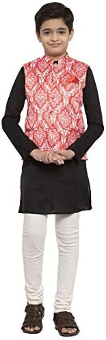 NEUDIS by Dhrohar Satin Nehru Jacket & Cotton Long Kurta With Churi Pajama Set For Boys - Red &am