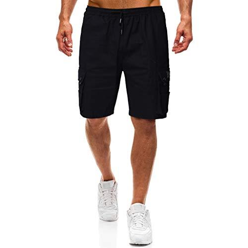 Beonzale Hosen Der neuen Männer Drawstring elastische Taillen-Druck-lose Sporthosen Regular Fit Herren Sweatshorts Kurze Hose Jogginghose Laufhose Trainingshose