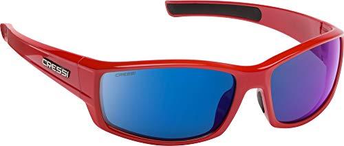 Cressi Unisex- Erwachsene Hunter Sunglasses Sport Sonnenbrille, Rot/Verspiegelte Linsen Blau, One Size