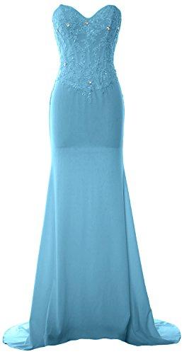 MACloth-Maglia Sirena senza spalline vestito da ballo abito da sera festa di nozze Blue 34