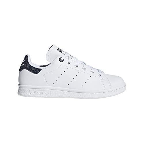 adidas Stan Smith J, Chaussures de Running garçon, Mehrfarbig FTWR White/Collegiate Navy Ee6173, 36 EU