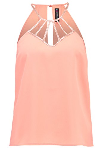 EvenOdd-Top-Damen-Wei-Schwarz-o-Apricot-unifarben–Blusentop-elegant-transparent–Shirt-in-edel-schulterfrei-mit-Pailletten-Applikation