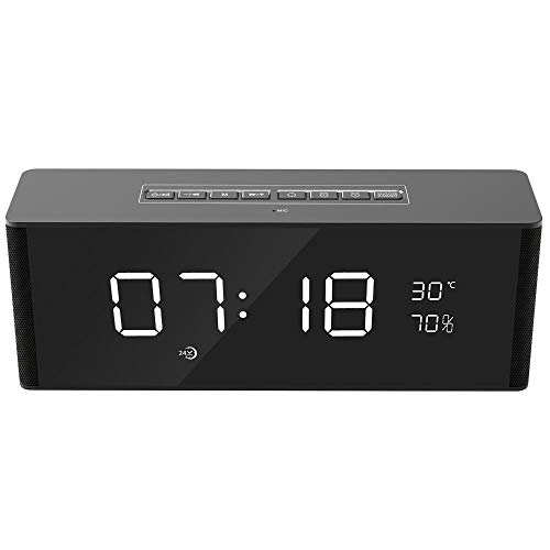 cker Bluetooth drahtlose Lautsprecher Stecker Cartoon Lautsprecher Freisprech-Clock Audio Desktop Portable Stereo-bu ILT-in Mikrofon Lautsprecher Free Call, UKW-Radio (schwarz) ()