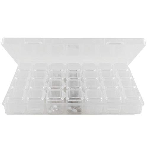 Boîte de rangement transparente 28 compartiments pour nail art strass