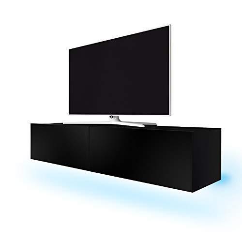 TV Schrank Lowboard Hängeboard Simple mit LED Blau (Schwarz Matt/Schwarz Hochglanz 200 cm)