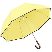 ZHDC® Paraguas de mango largo, estudiante transparente de refuerzo a prueba de viento de