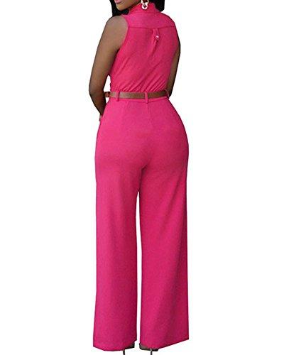 Femmes Rompers Sans Manches Jumpsuit Pantalons Avec Ceinture Rose