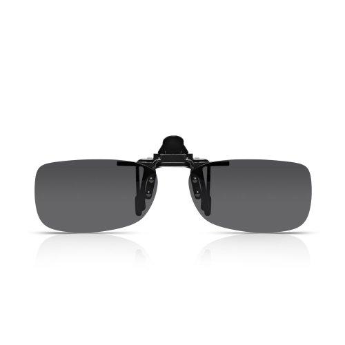 Read Optisch Spring-Bridge Clip-On Sonnenbrillen. Polarisierter Flip-Up UV-Schutz Quadratisch Rauchgraue UV400-Objektive in starkem randlosem Polykarbonat für Männer und Frauen. Passen auf alle Brillen