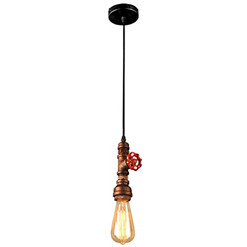 HWAMART ™ HL429 Kupferrohr roten Stopphahn Industrie Vintage-Stil Pendelleuchte Lichtventil Edison E27 Decken