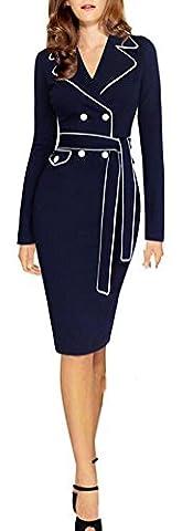 SunIfSnow - Robe spécial grossesse - Moulante - Uni - Col Chemise À Patte Boutonnée - Manches Longues - Femme - bleu - X-Large