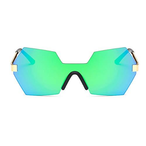 Taiyangcheng Eyewear Square Frame Damen Randlose Sonnenbrille Weibliche Sonnenbrille Spiegel Übergroße Sonnenbrille,Grün