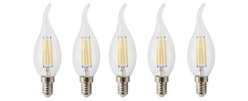 XQ-Lite Confezione da 5filamento LED, candela, E14, 4W, sostituisce 35W, 400lumen, luce bianca calda XQ1463-5