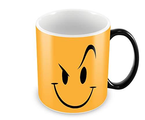 "Tuelip""Angry Smile"" Colour Changing Magic Printed for Tea & Coffee Ceramic Mug (300 ml, Black)"