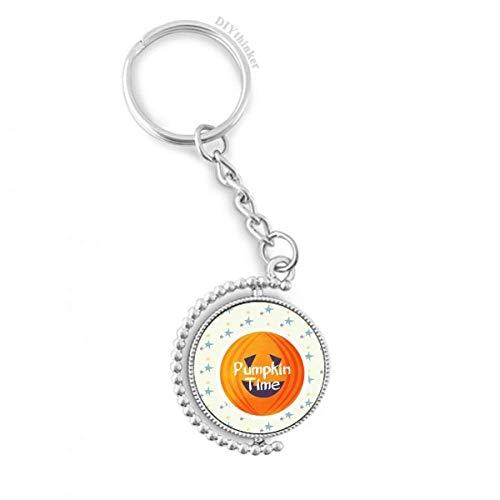 DIYthinker Halloween Runde Kürbis-Muster Drehbare Schlüsselanhänger Ringe 1.2 Zoll x 3.5 Zoll Mehrfarbig