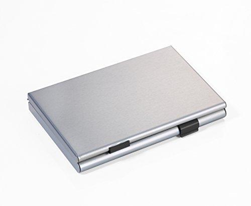 TROIKA ZWEI-FACH KARTENETUI- CDC36/BK - Visitenkartenetui mit 2 Öffnungen - mit Trennwand - für ca. 21 eigene/fremde Visiten-/Kreditkarten - Aluminium - matt - titan/schwarz - das TROIKA-Original